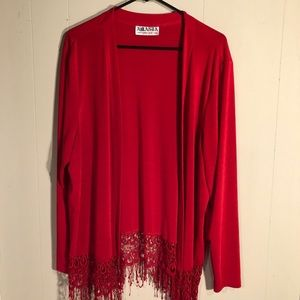 Red fringed lace trimmed open light weight sweater